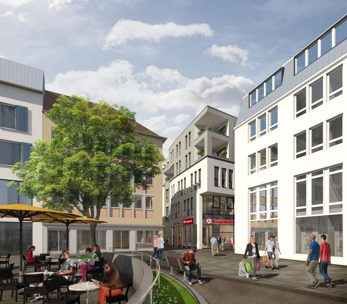 Visualisierung des neuen City-Karree am alten Postplatz in Schweinfurt