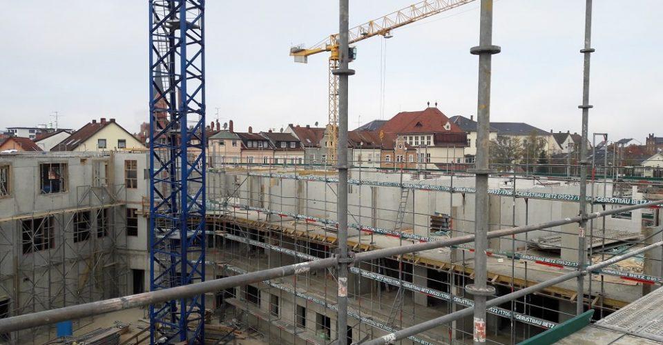 Die ersten beiden Stockwerke für den Neubau des Gesundheitszentrums in Bamberg stehen bereits