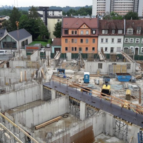 Glöckle Rohbaubaustelle des neuen Gesundheitszentrums in Bamberg