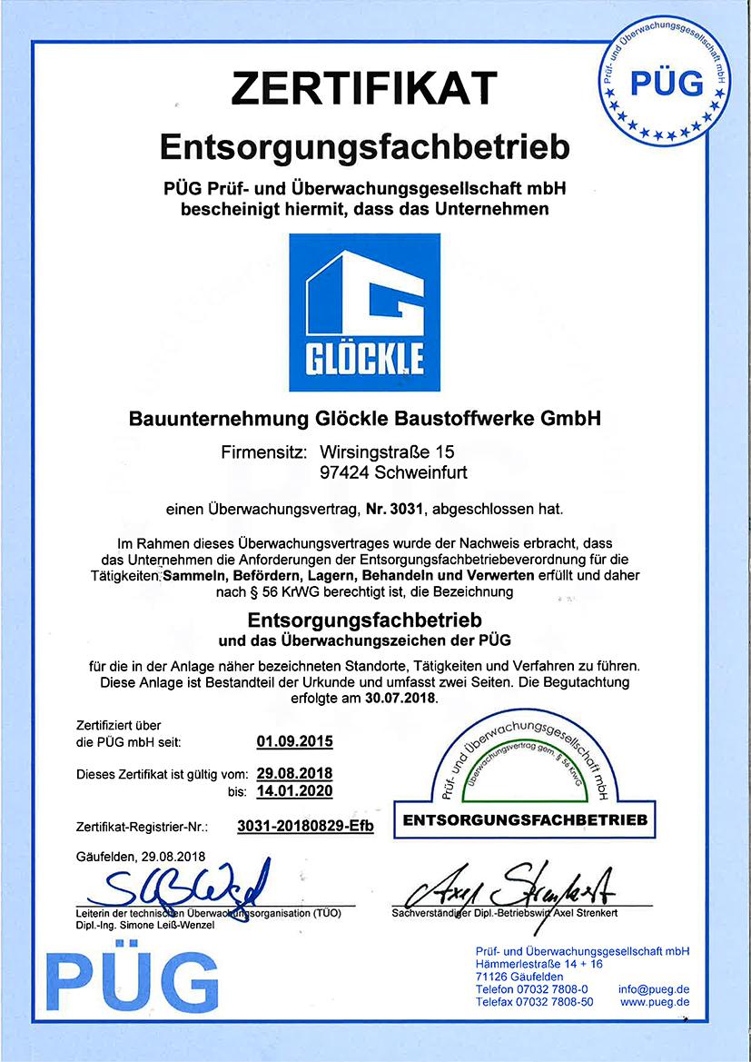 PÜG Entsorgungsfachbetrieb Glöckle 2018