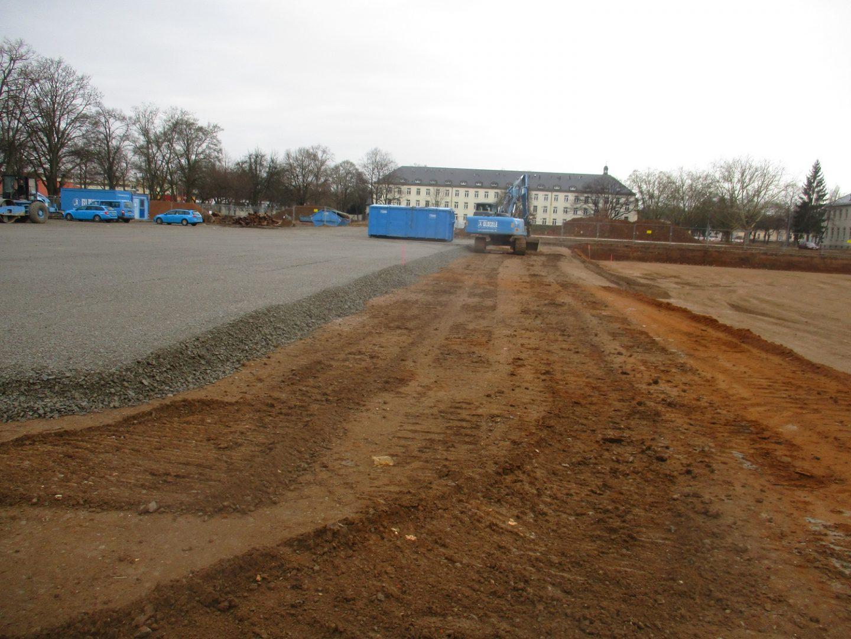 Die ersten Flächen sind bereits mit Schotter aufgeschüttet und bereit für die nächsten Baumaßnahmen an der Ledward-Kaserne