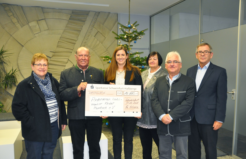Der Förderverein krebskranker Kinder Hambach e.V. freut sich über die Spende der Firma Glöckle in Höhe von 10.000 Euro