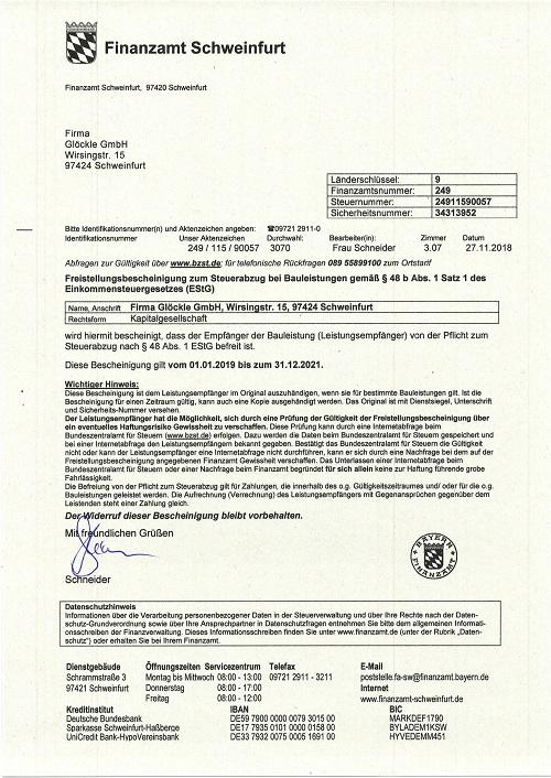 Glöckle GmbH_01.01.2019 Freistellungsbescheinigung