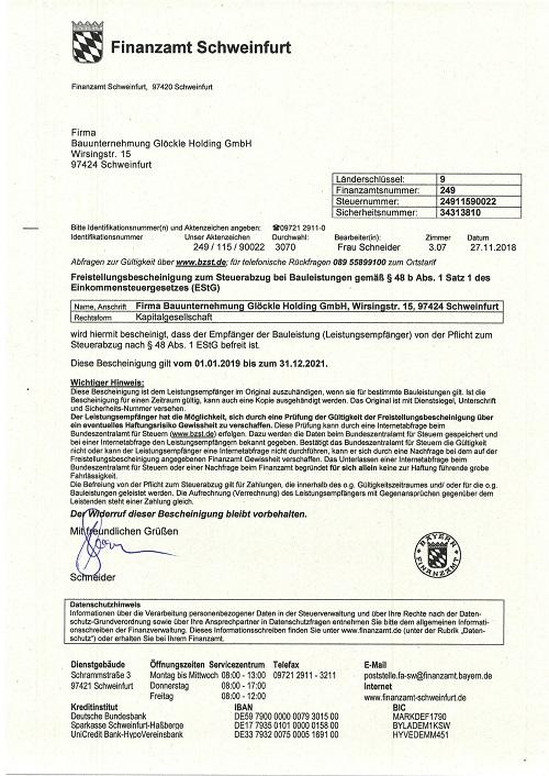 Glöckle Holding_01.01.2019 Freistellungsbescheinigung
