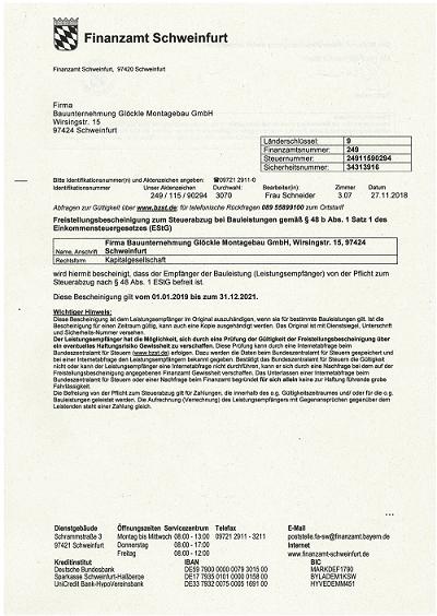 Glöckle Montagebau_01.01.2019 Freistellungsbescheinigung