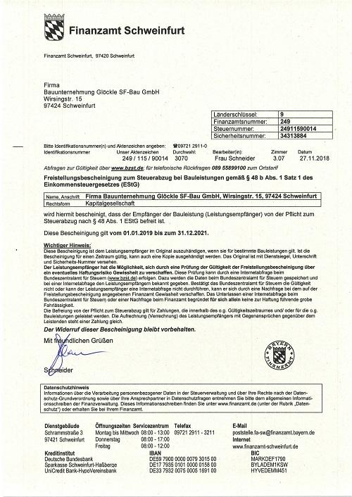 Glöckle SF-Bau_01.01.2019 Freistellungsbescheinigung