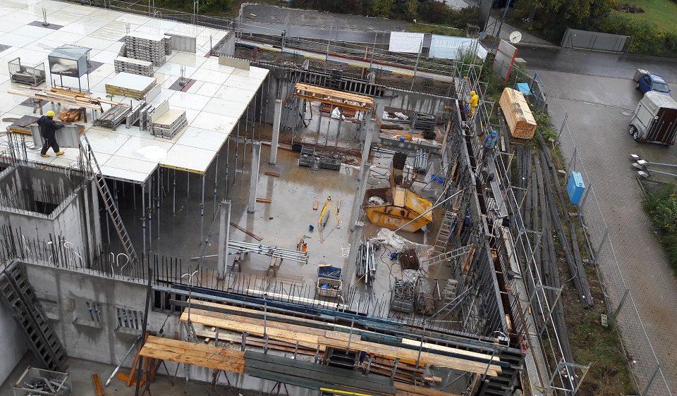 Luftbild von der Baustelle des Technologiezentrums in Würzburg