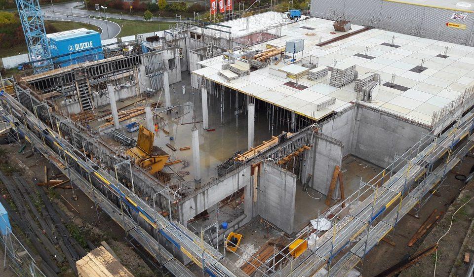 Draufsicht auf den Bau des neuen Technologiezentrums in Würzburg
