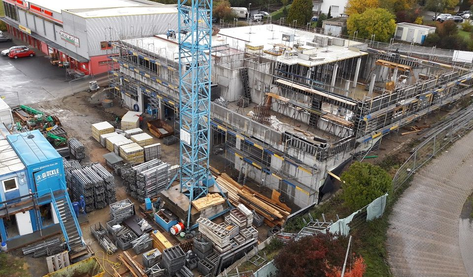 Der Rohbau für das neue Technologiezentrum in Würzburg ist in vollen Gange