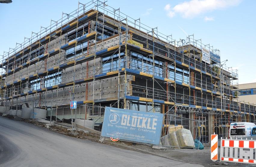 Der Rohbau des neuen Technologiezentrums in Würzburg steht bereits