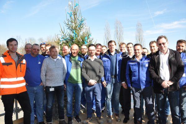 Gesamtes Bauteam der neuen Bereitstellungshalle Grafenrheinfeld