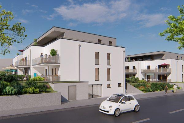 Visualisierung der neuen Mehrfamilienhäuser in Estenfeld